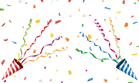Exploding party popper with confetti and streamer Illustration