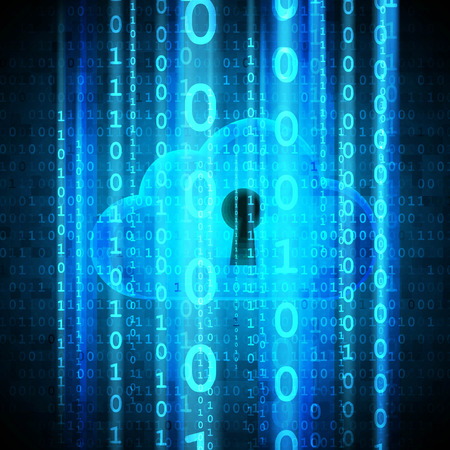 Cloud computing security. Cloud with keyhole and matrix streaming.