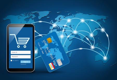 Slimme telefoon met een creditcard op de mondiale kaart achtergrond