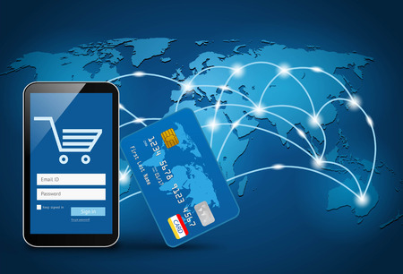 Smart phone avec une carte de crédit sur la carte mondiale de fond Vecteurs