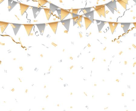 金と銀のパーティーの背景。党旗、紙吹雪、およびストリーマ。