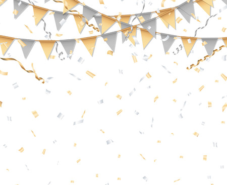 streamer: Gold and silver party background. Party flag, confetti, and streamer.