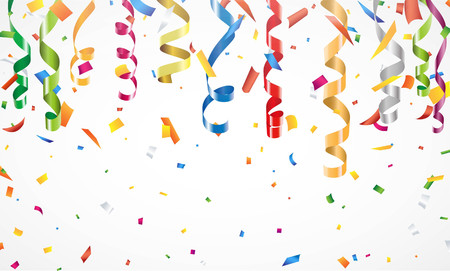 streamer: Colorful confetti and streamer on white background