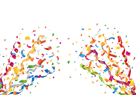 Exploding party confetti and streamers