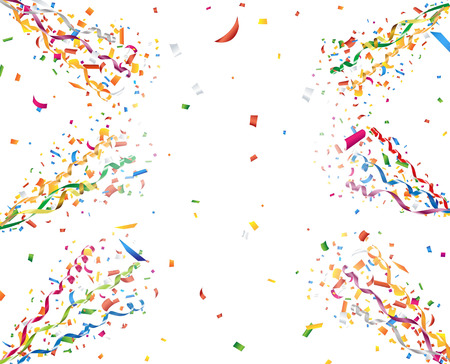 party streamers: Exploding party confetti and streamers
