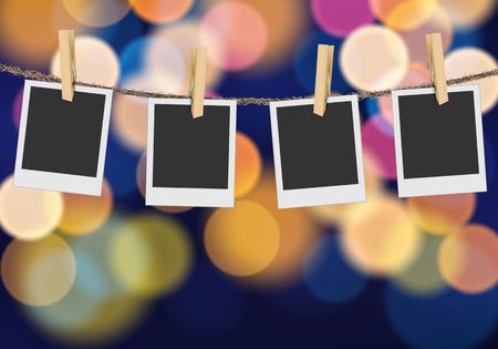 multi color: Blank photo frame on blurred defocused multi color lights background Illustration