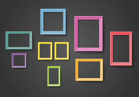 colorful frame: Blank colorful frame set isolated on wall