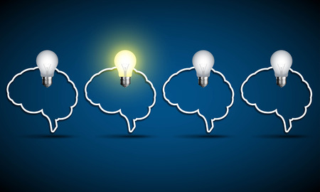 think: Brain with light bulb. Think idea concept. Illustration