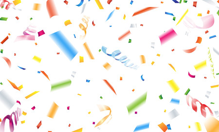 streamer: Close up falling confetti and streamer