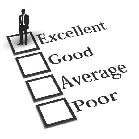appraise: Businessman on evaluation check box