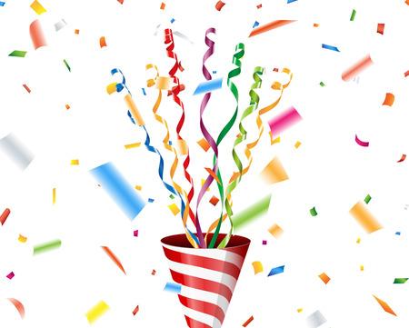 Party popper met confetti en streamer