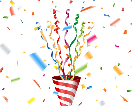 streamer: Party popper with confetti and streamer Illustration