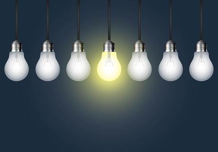 暗い背景上の電球がぶら下がっています。アイデア コンセプト。  イラスト・ベクター素材