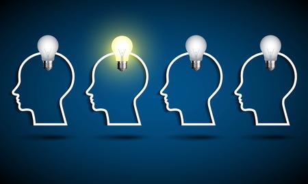 bright: Human head with light bulb. Think idea concept.