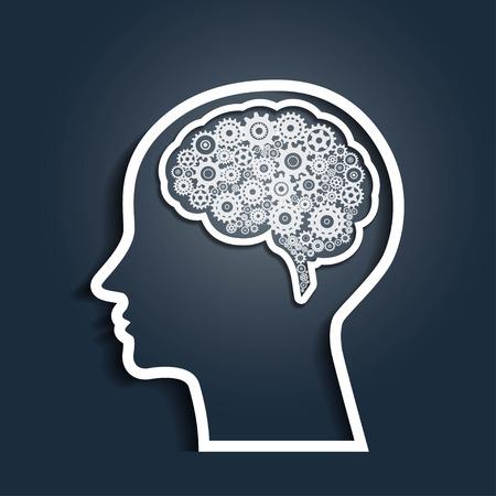 Menselijk hoofd met versnellingen Stockfoto - 64941964