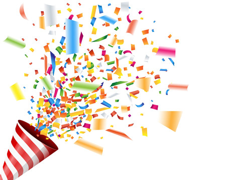Exploding party popper with confetti