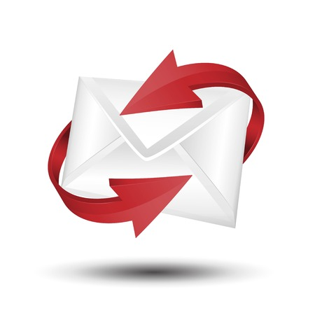 Vector mail with red circular arrows. e-mail concept.