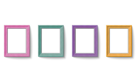 Set of colorful wooden picture frames