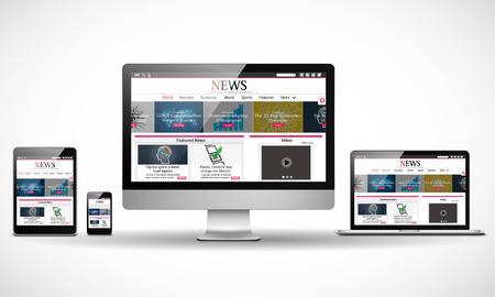 Vector varios dispositivos con noticias de negocios sitio web de Internet