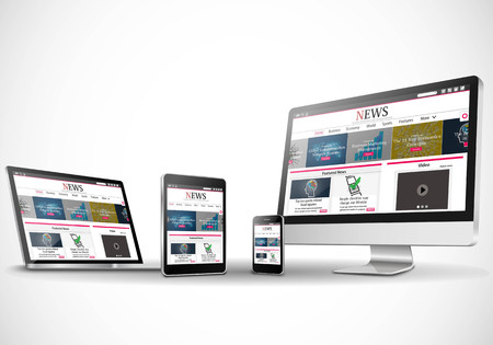 business news: Vector multiple devices with business news internet web site