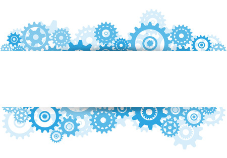 Blue gears overlapping banner advertisement on white background