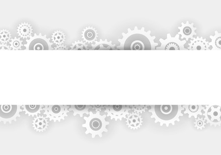 empty space: White gears overlapping banner advertisement on gray background Illustration