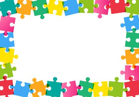 白地にカラフルなパズル フレーム