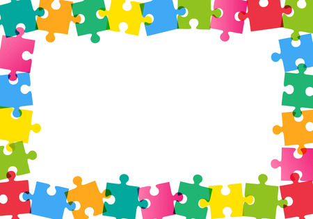 Kleurrijke puzzel frame op witte achtergrond Stock Illustratie