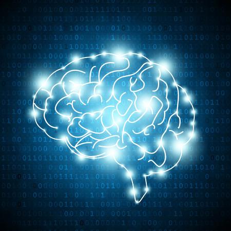 Human brain on matrix number background