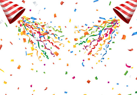 event party festive: Exploding party popper with confetti and streamer on white background
