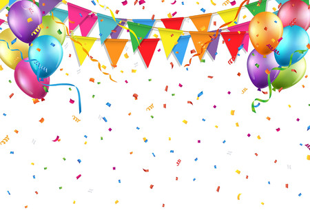 Festive background with party flag, balloon, confetti, and streamer Illustration
