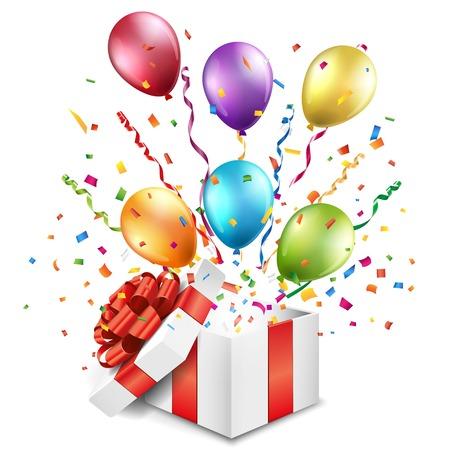 Ffnen Sie Geschenk-Box mit bunten Luftballons Standard-Bild - 64942617
