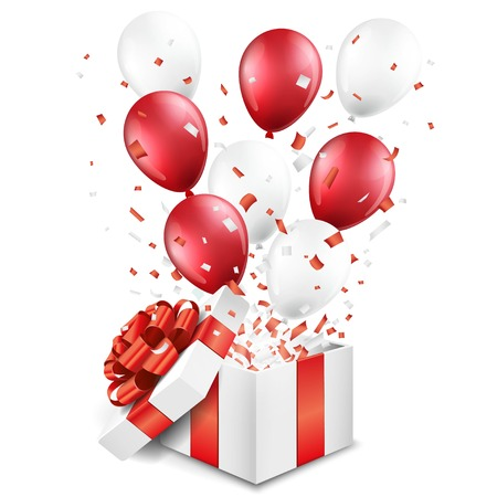 Surprise open gift box with balloons and confetti Ilustracja