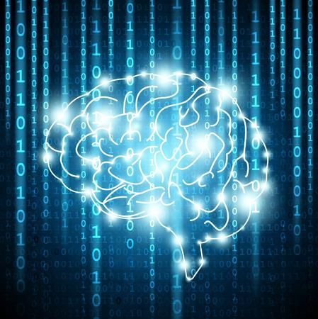 Fondo con los números de la matriz y vector cerebro Ilustración de vector