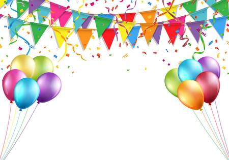 Celebration design with flag, balloon, confetti and streamer.
