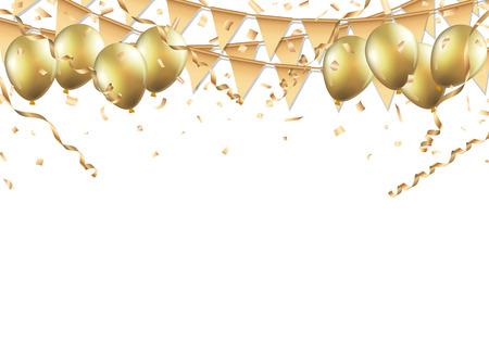 globos de oro, confeti y serpentinas sobre fondo blanco. Ilustración de vector