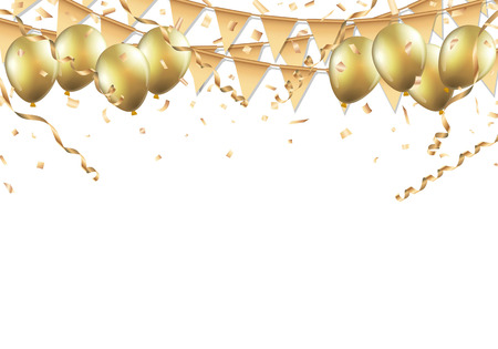 Gold balloons, confetti and streamers on white background.