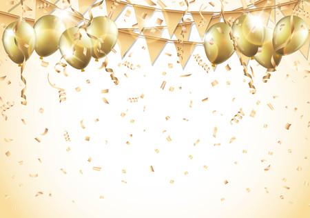 serpentinas: globos de oro, confeti y serpentinas.