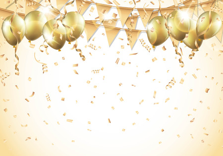 event party festive: Gold balloons, confetti and streamers. Illustration