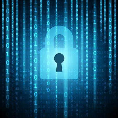 Closed padlock on matrix binary background. Safety concept. Illustration