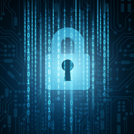 Closed padlock with matrix binary on circuit board background
