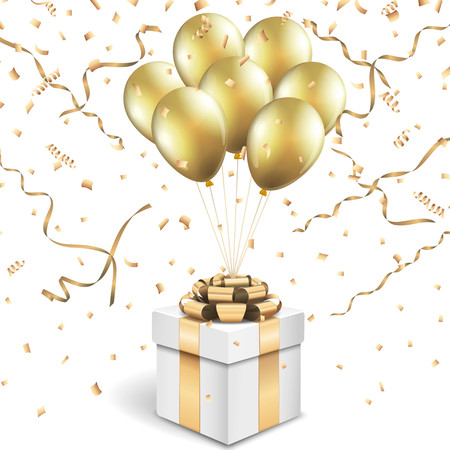 Gift box with gold balloons