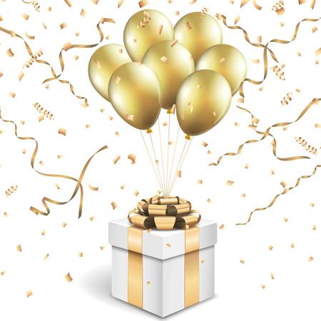 Geschenkdoos met gouden ballonnen