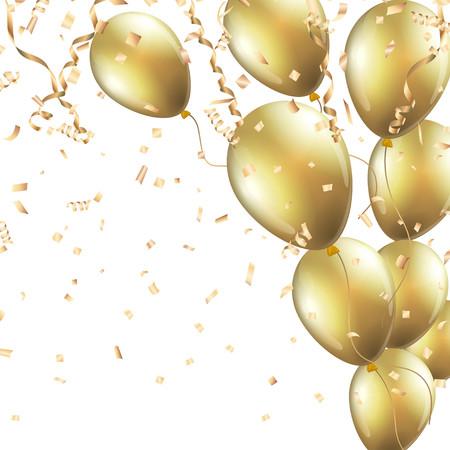 Feestelijke achtergrond met gouden ballonnen en confetti