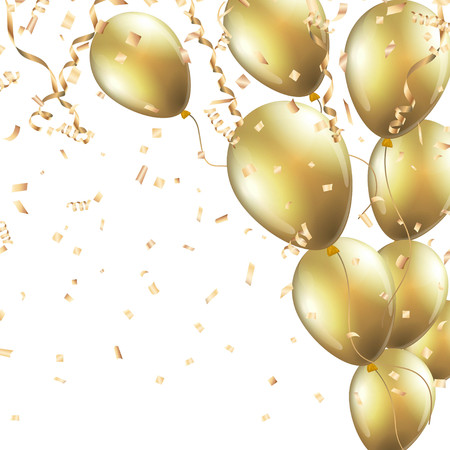 Festive background with gold balloons and confetti