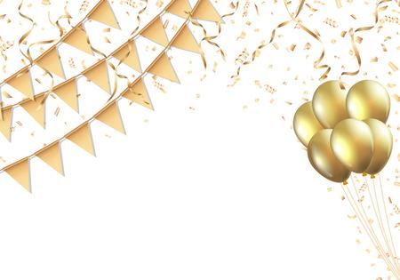 황금 깃발, 풍선, 색종이 사광 축하 디자인