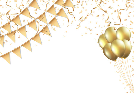 Viering ontwerp met gouden vlag, ballon, confetti en streamer