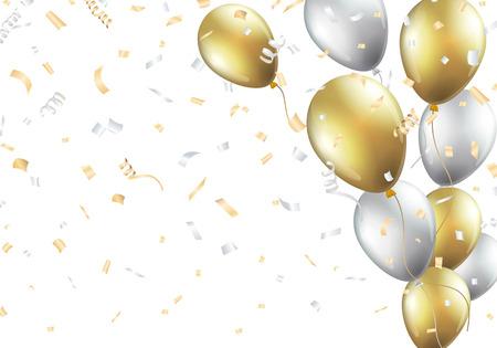 Fondo festivo con globos de oro y plata Foto de archivo - 67586040