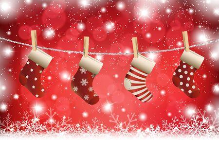 Christmas stocking on winter background