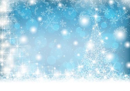 Snowflake Christmas tree on winter background